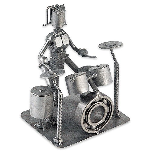 Collectible Art Sculpture 5 Inch Rock Band Drummer Made with Recycled ()