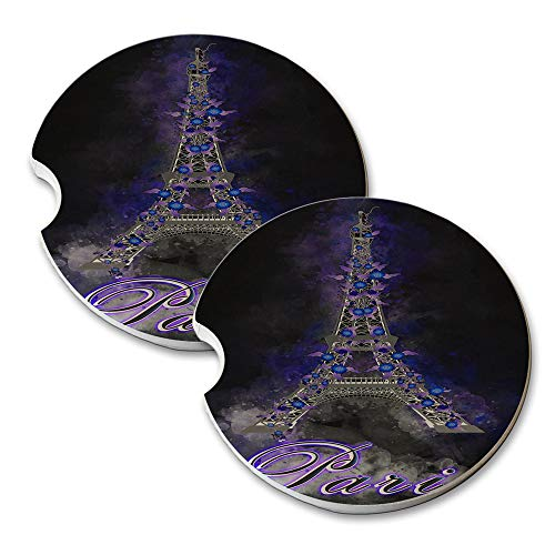New Vibe Paris Eiffel Tower Midnight Flowers - Round Absorbent Natural Stone Car Coaster Set (Set of 2) Auto Drink Coasters