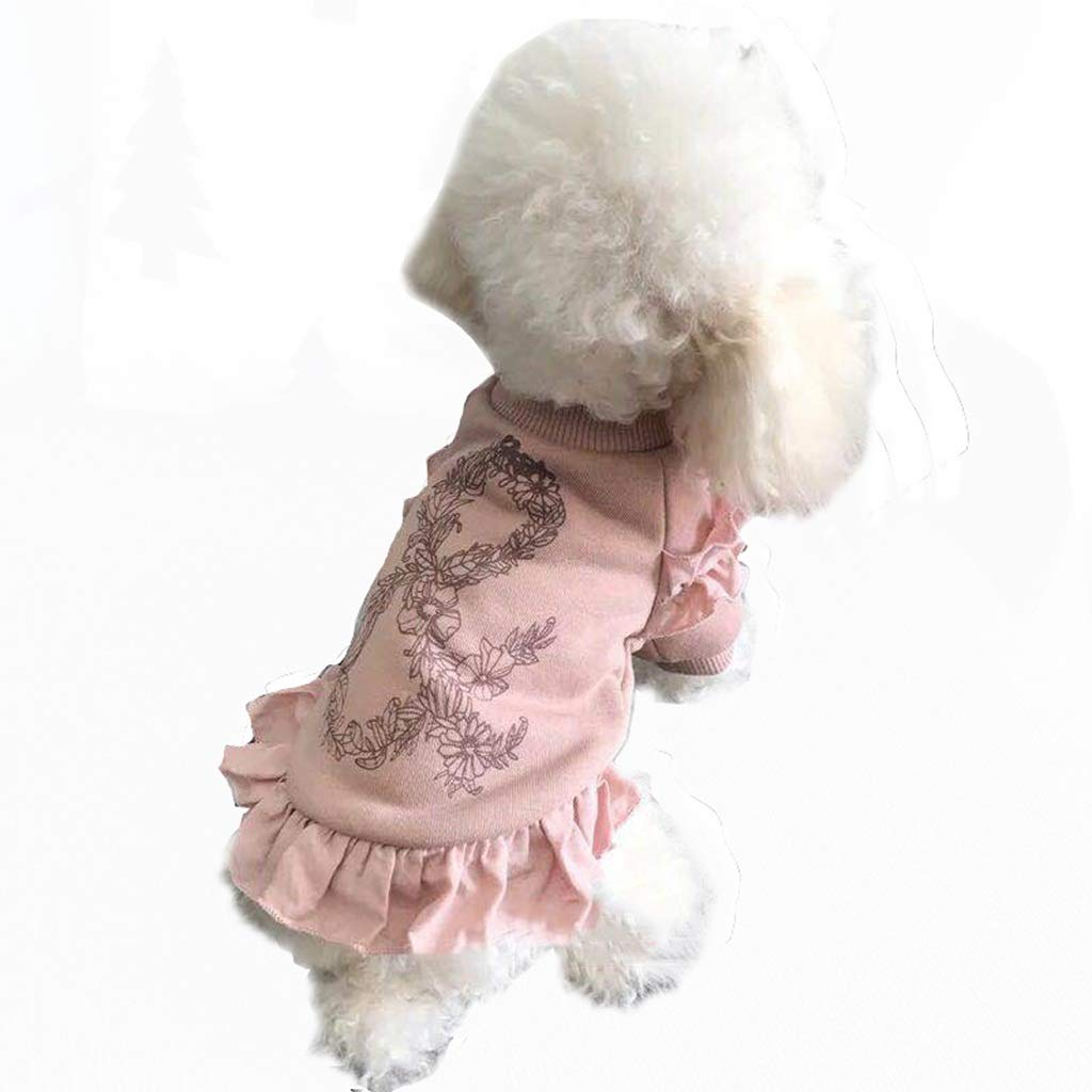 HXBLB Autumn and Winter Sleeves Skirt Dog Clothes Autumn Clothes Thin Cotton Dog Clothes pet Clothes Teddy VIP Than Bear Small Dogs (Color : Pink, Size : XXL)