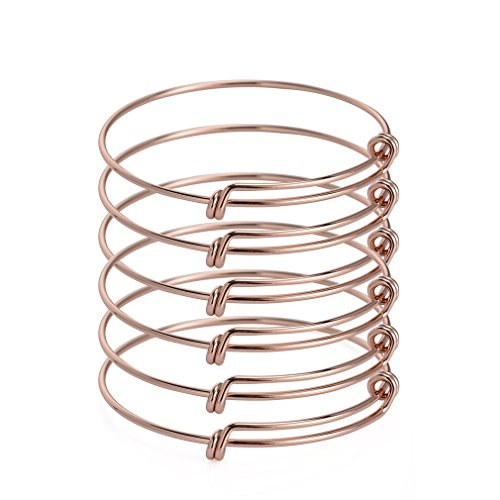 ZX Jewelry 6pcs Expandable Blank Bangle for Women Adjustable Wire Bracelet for Jewelry Making 2.4inch