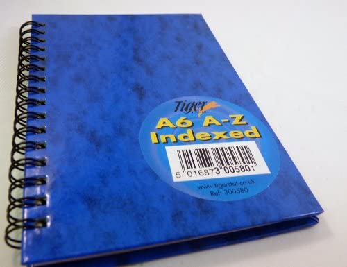 5 x Blue A4 Indexed A-Z Twinwire Notebooks Note Pad Gloss Finish Hardback Book