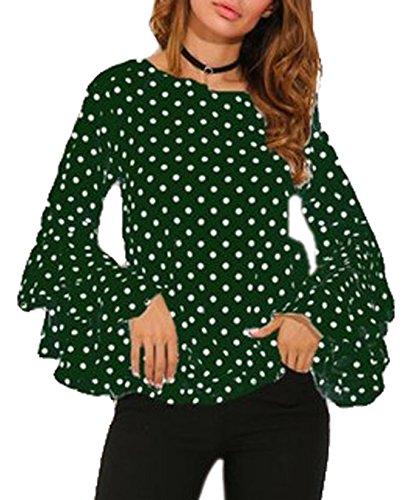 Femmes Automne Blouses Col Vert Pois Chemisiers Shirt Casual Flare Sleeve Slim et Shirts Tee T Tops Printemps Mode Haut Rond 6Ex5Fcwq