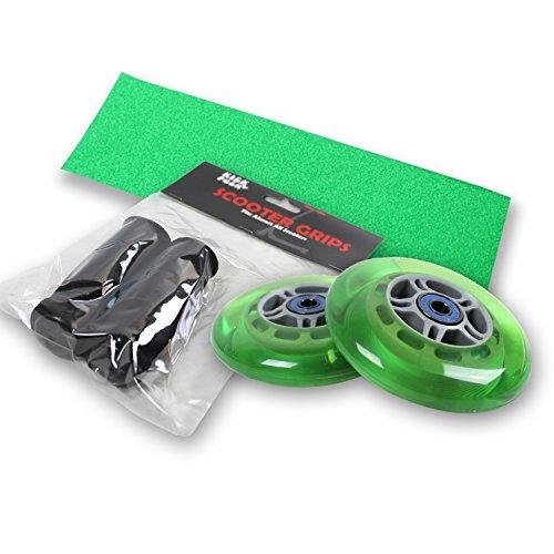 (Kick Push Upgrade Pack for Razor Scooter Green Wheels, Handle Grips, Griptape, Bearings)