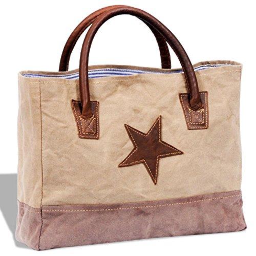 vidaXL Borsa shopper in vera pelle e tela beige con stella donna lady moda comoda