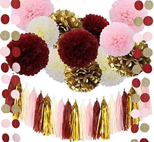 (Fonder Mols Bridal Shower Decorations 55pcs Burgundy Pink Glitter Gold Tissue Paper Pom Poms Tassel Garland Balloons for Wedding/Bachelorette Party Decorations, Birthday Photo Backdrop)