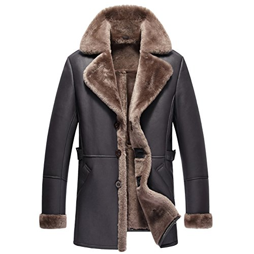 Mens Shearling Coat Men Aviator Jacket Pilot Jacket Mens Fur Coat B3 Sheepskin Outwear (Brown, ()