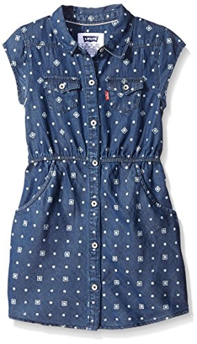 Levi's Girls' Western Shirt Dress,Best Friend Blue, 6X