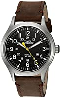 Timex Men's TWC004500 Expedition Scout Black/Brown Leather Strap Watch