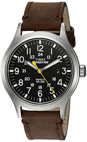 (Timex Men's TWC004500 Expedition Scout Black/Brown Leather Strap Watch)