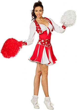 shoperama Luxus Disfraz de Animadora para Mujer Rojo/Blanco/Plata ...