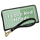 Wallet Clutch I Love Red Heads St. Patrick's Day Modern Green with Removable Wristlet Strap Neonblond
