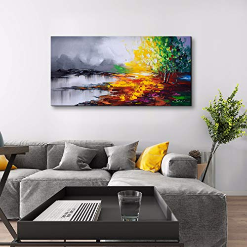(ARTLAND Hand Painted Black and White Landscape Oil Painting on Canvas Moutain and Tree Lake Scenery Wall Art Modern Artwork Framed for Living Room Bedroom Home Decoration 24x48 inches )