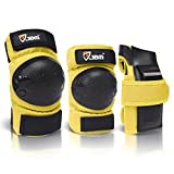 JBM international Adult / Child Knee Pads Elbow Pads Wrist Guards 3 In 1 Protective Gear Set, Yellow, Youth / Child