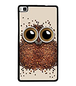 Coffee Owl 2D Hard Polycarbonate Designer Back Case Cover for Huawei P8
