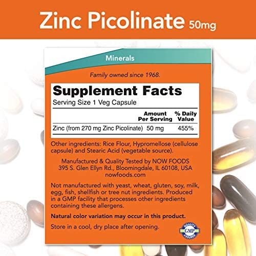 NOW Supplements, Zinc Picolinate 50 mg, Supports Enzyme Functions*, Immune Support*, 120 Veg Capsules 3