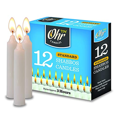 - Ner Mitzvah Shabbos Candles - 3 Hour Burn Time - 12 Pack