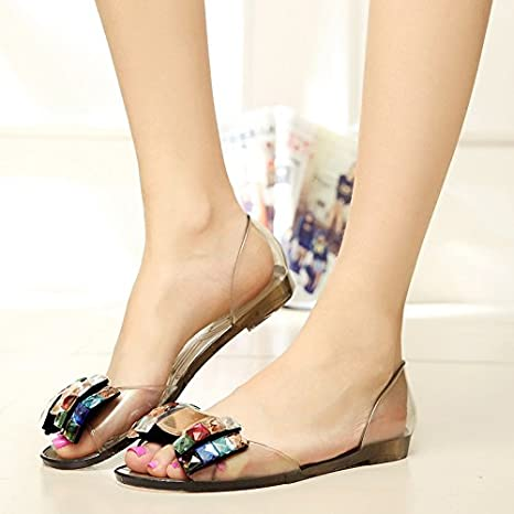 a2e5a8760 MEIREN Female new 2016 Summer sandal clear Crystal rhinestones shoes jelly  fish mouth shoes flat women s