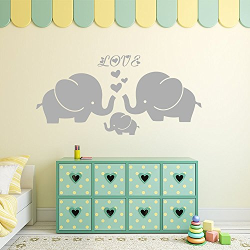 Large Cute Elephant Family With Hearts Wall Decals Baby Nursery Decor Kids Room, (Large)40''W x19''H, Grey