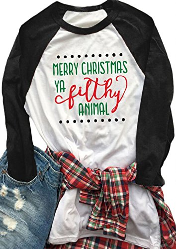 Christmas Shirts - Womens Merry Christmas Ya Filthy Animal Letters Print Tee Baseball Raglan TShirt size US M/Tag L (Black)