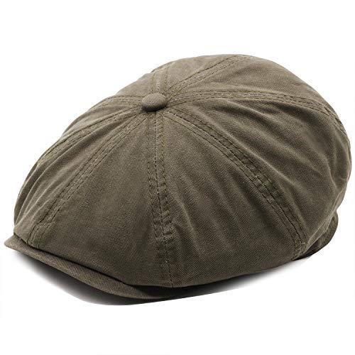 (Men's Cotton Newsboy Flat Ivy Gatsby Caps Vintage Classic 8 Pannel Retro Cabbie Octagonal Hat Army Green)