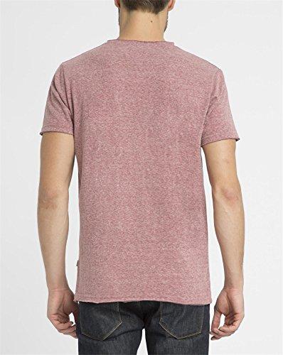 REVOLUTION - Herren- Rot meliertes Vintage-T-Shirt mit Rundhalsausschnitt 1003 für herren