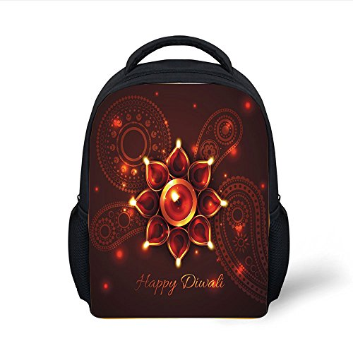 iPrint Kids School Backpack Diwali,Paisley Design Backdrop with Beams and Diwali Wishes Candles Tribal Celebration Decorative,Bronze Brown Plain Bookbag Travel Daypack by iPrint
