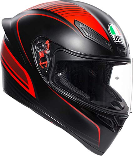 online store 04944 8418a AGV Unisex-Adult Full Face K-1 Warmup Motorcycle Helmet Black Red Medium