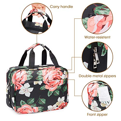 Large Hanging Toiletry Bag Travel Makeup Bag Cosmetic Organizer for Women and Girls (Black Peony)