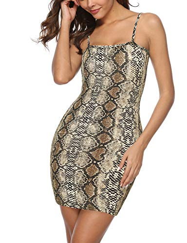 (Queen.M Women's Sexy Spaghetti Tank Neck Snake Skin Print Bodycon Dress Casual Club Party Slim Short Mini Dress (Snake Skin Sleevelss,)