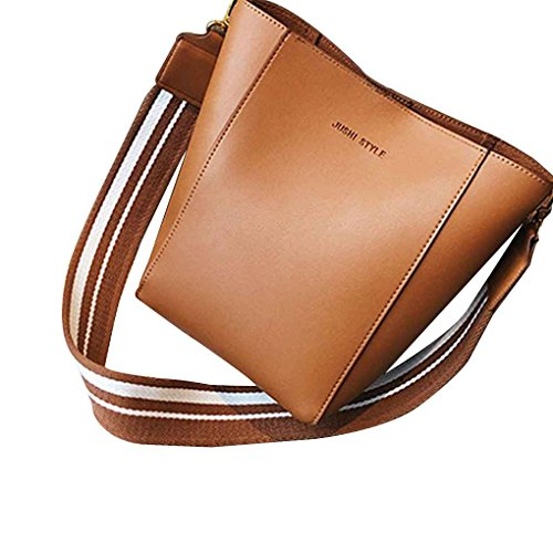 brown Ladies Capacity Single Large Tote Solid Shoulder Straps Wide Women Handbag with Girls Bag Bucket Xuanhemen Color 8BxaqFwqf