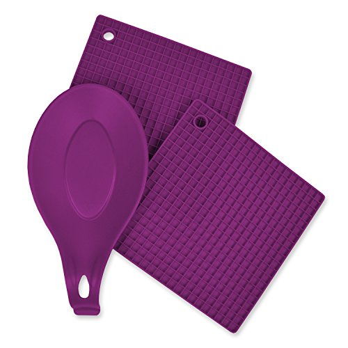 um, 2-Piece, Heat Resistant, Seamless, Non Stick, Dishwasher Safe, BPA Free, Silicone Kitchen Set, Includes Potholder & Spoon Rest- Purple (Dishwasher Safe Silicone Spoon Rest)