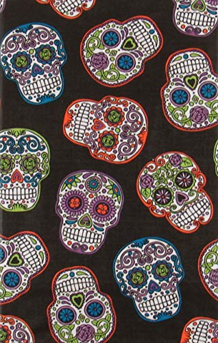 Mainstream International Halloween Spooky Sugar Skulls Vinyl Flannel Back Tablecloth (52