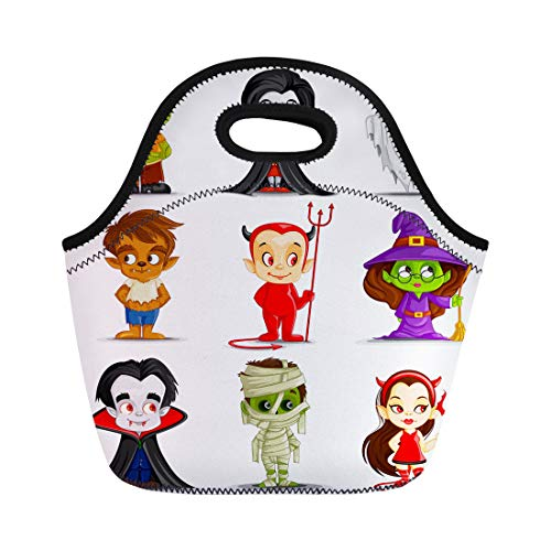 Tinmun Lunch Tote Bag Character of Halloween Monster Costume Ghost Mummy Cartoon Zombie Reusable Neoprene Bags Insulated Thermal Picnic Handbag for Women Men]()