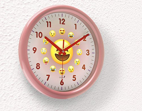 Chital Emoji Wall Clock - Adorable Wall Clock for Kids - Large 11.5-Inch Wall Clock for Girls & Boys - Kids' Wall Clock with Cute Emojis - Easy to Read Large Numbers, Glass Covering - Pink