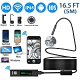 Wireles Endoscope Camera,OVEHEL 8mm HD 1200P Waterproof IP68 Wifi Endoscope Inspection Camera 2.0MP Borescope Snake Camera with 5M Cable for ISO and Android ,iPhone,Samsung,Table-Black(16.5FT)