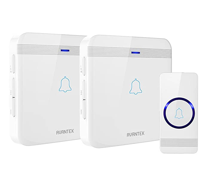 Wireless Doorbell, AVANTEK D-3W Waterproof Door Chime Kit Operating at Over 1300 Feet with 2 Plug-In Receivers, 52 Melodies, CD Quality Sound and LED Flash