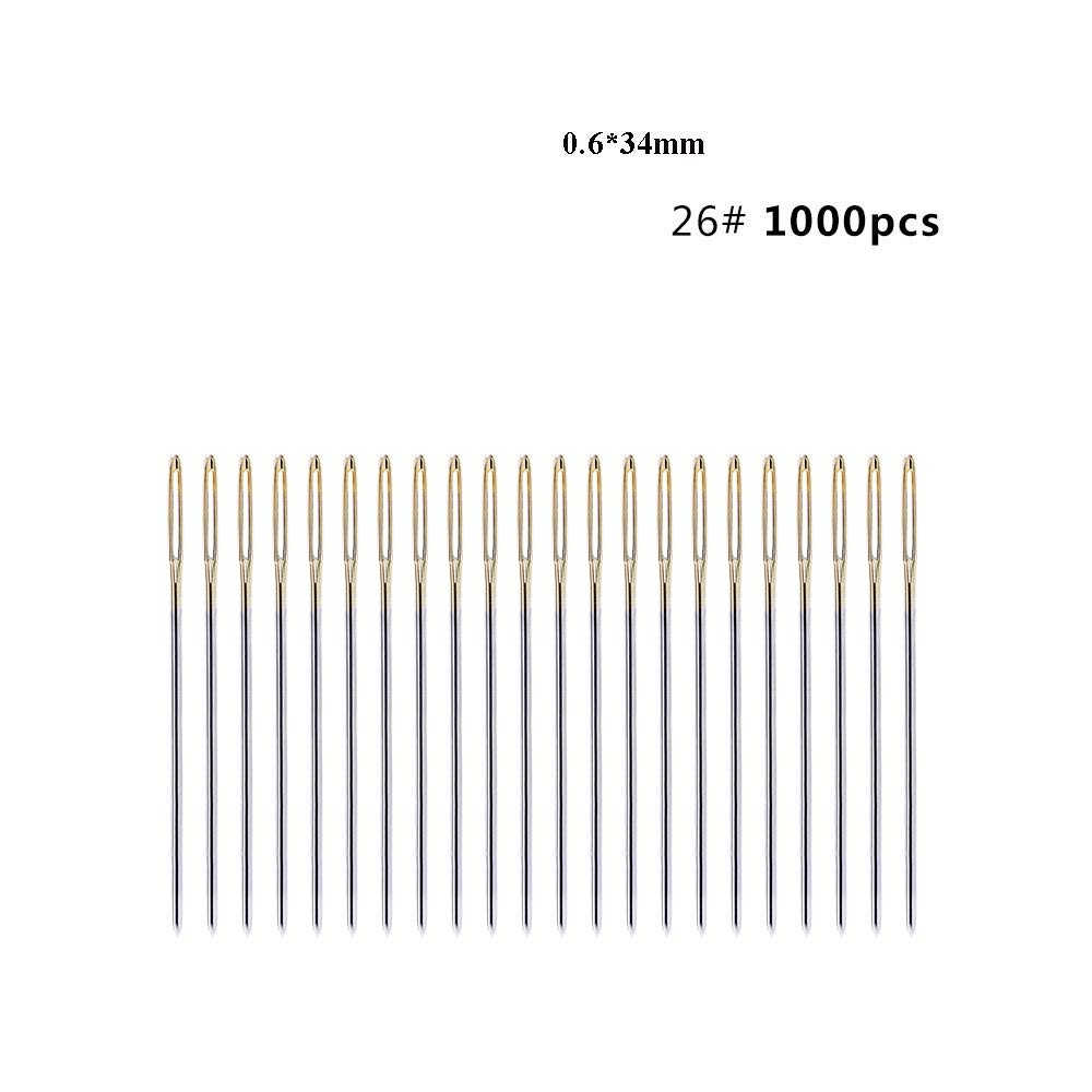 Sewing Needles - 500/1000PCS 34/37/40MM Large Eye Needles Leather Sewing Needle Gold Needle Embroidery Tapestry Hand Sewing Accessories by Sewing Needles