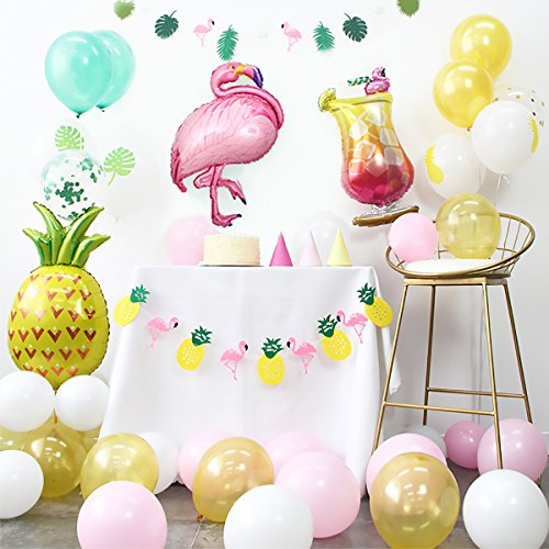 Summer Tropical Theme Party Decoration Kit Flamingo Glass Pineapple Balloons Garland Banners White Yellow Pink Green Latex Balloons for Baby Shower Birthday Hawaiian Luau Beach Party Decor (Colorful) by CUEA