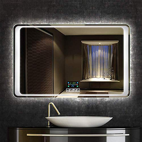 600 x 800mm Rectangle antifog Bathroom Mirror Bains Bluetooth Smart LED Makeup -