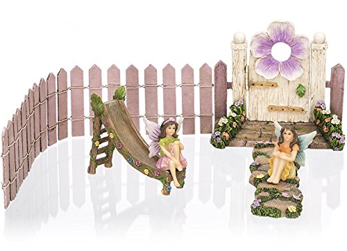 Joykick Fairy Garden Flower Door Kit - Miniature Hand Painted Figurine Statues with Accessories - Set of 6pcs for Your House or Lawn (Halloween Activity Village)