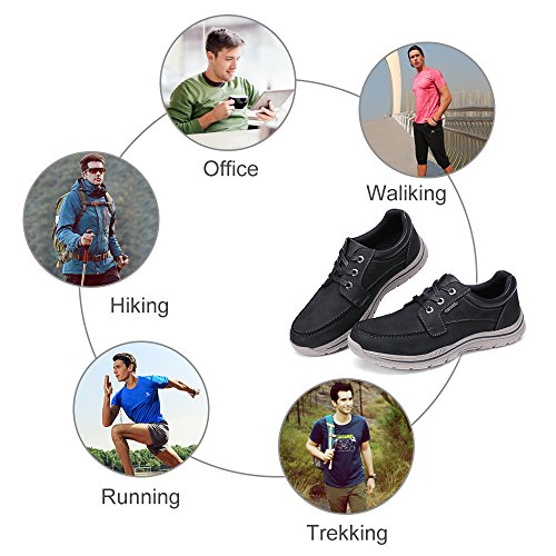 Camel Mens Casual Leather Fashion Sneakers Business Wide Lightweight Lace-up Oxford Shoes for Walking Athletic Black for cheap price dxvNU