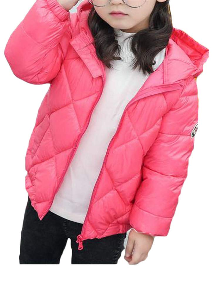 Wofupowga Boy's Loose Zip Lightweight Hoody Down Thin Quilted Jacket Parka Coat Pink 3T by Wofupowga