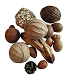 From The Attic Crafts Vase Filler Burlap Rag Balls with Pods, Seeds Bowl Filler Set Brown and Tan 12 Pieces