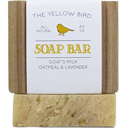 Lavender Goats Milk Soap Bar with Oats. Gentle Exfoliating Bath Soap. Moisturizing Dry Skin Face & Body Wash. Mild Natural and Organic Soap. Artisan Handmade Bar Soap
