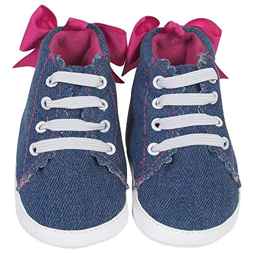 Gerber Baby Girl Cupcake High Top Soft Sole Crib Shoes with Organza Laces Fuchsia - 3 Infant / 6 Mths-9 Mths