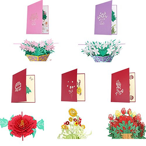 Frienda 5 Pieces 3D Greeting Cards Pop up Card with Envelope Thank You Card for Birthday Anniversary Wedding Thanks Giving Day Christmas, 5 Styles -