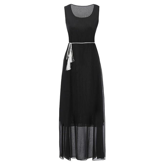 Misaky Maxi Dress, Womens Sleeveless Elegant Casual Chiffon Belt Boho Beach Long Dress