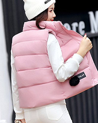 Chaud Femme Manche Gilet Sans Veste Doudoune Manteau Hiver Blouson Court pink nffAX7P