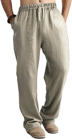 Onsoyours Pantalones De Lino Para Hombre Verano Comodo Largo Cintura Elastica Casual Pantalon Blanco Con Cordon Bolsillos Suelto Pantalon Amazon Es Ropa Y Accesorios