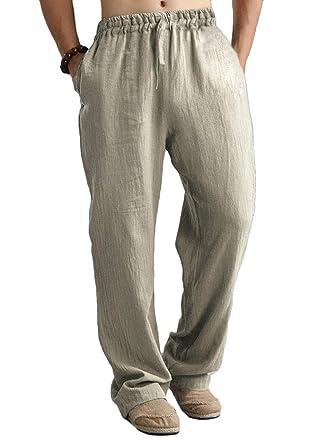 Pantalones De Hombre Natural Algodon Lino Casual Color Solido Cintura Elastica Suave Transpirable Comodo Pantalones Sueltos Rectos Pantalones